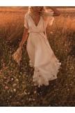 BEIGE FRILL SLEEVE WOMEN SUMMER MAXI DRESSES