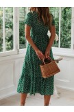 Roslady Dot Printed Midi A Line Dress