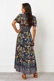 V Neckline Short Sleeves Elastic Waist Maxi Dress