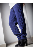 WOMEN DRAWSTRING KNITTED SOLID CASUAL PANTS