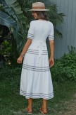 White Half Sleeves V-neck Embroidery Polyester Maxi Dress