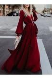 Vneck Long Sleeves Belted Maxi Dress
