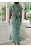 V Neck Flowy Sleeve Floral Wrap Maxi Dress