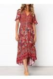 VNeckline Lace Trim Button Front Floral Maxi Dress