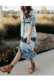 Boho Buttondown Floral Maxi Dress