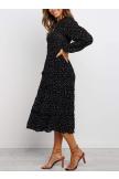 Polka Dot Prient Ruffled Midi Dress