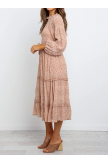 Polka Dot Print Ruffled Midi Dress