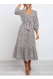 Front Tie Detail Ruffle Hem Midi Dress