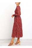 Round Neck Long Sleeve Tiered Dress