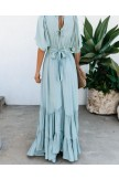Floor Length Half Sleeve V Neck Maxi Dress