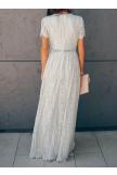 V Neck Short Sleeve Lace Maxi Dress