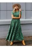 Adella Smocked Maxi Dress in Green
